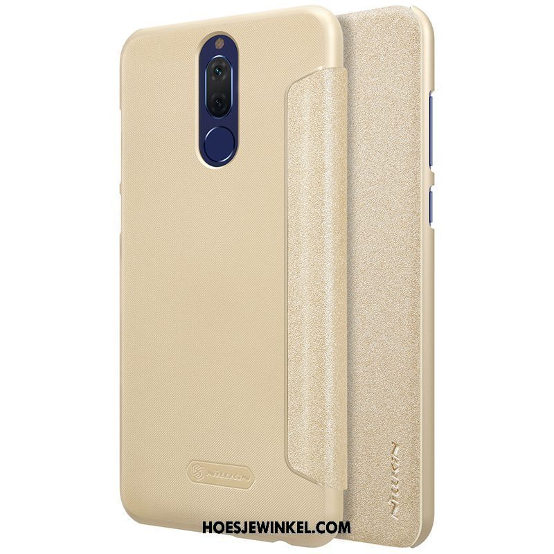 Huawei Mate 10 Lite Hoesje Leren Etui Clamshell Diepe Kleur, Huawei Mate 10 Lite Hoesje Dun Bescherming