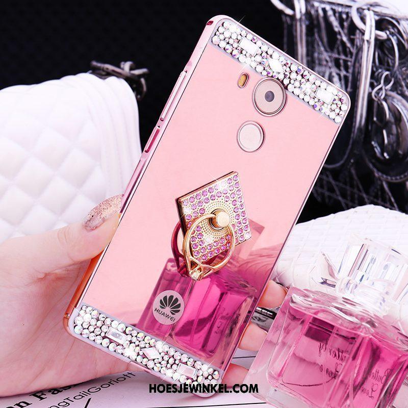 Huawei Mate 8 Hoesje Met Strass Metaal Roze, Huawei Mate 8 Hoesje Mobiele Telefoon Omlijsting