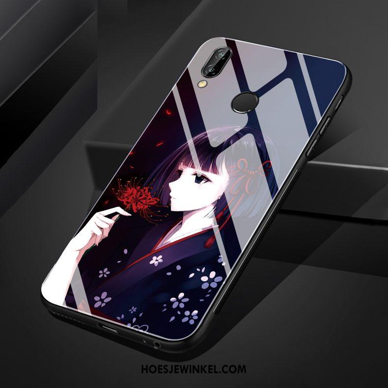 Huawei Nova 3 Hoesje Wit Glas Chinese Stijl, Huawei Nova 3 Hoesje Hemming Zwart