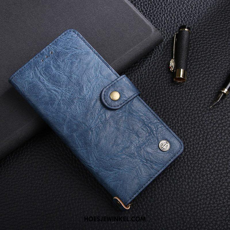 Huawei Nova 3e Hoesje Kaart Portemonnee Echt Leer, Huawei Nova 3e Hoesje Leren Etui Mobiele Telefoon