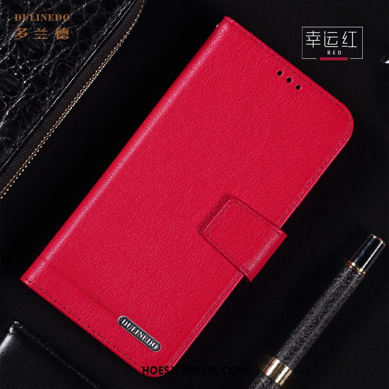 Huawei Nova 5t Hoesje Folio Ondersteuning Echt Leer, Huawei Nova 5t Hoesje Anti-fall Bescherming Braun