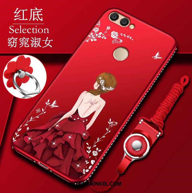 Huawei P Smart Hoesje Mobiele Telefoon Dun Rood, Huawei P Smart Hoesje Anti-fall Zacht