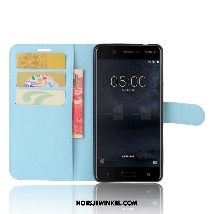 Nokia 5 Hoesje Bescherming Groen Mobiele Telefoon, Nokia 5 Hoesje Kaart Leren Etui