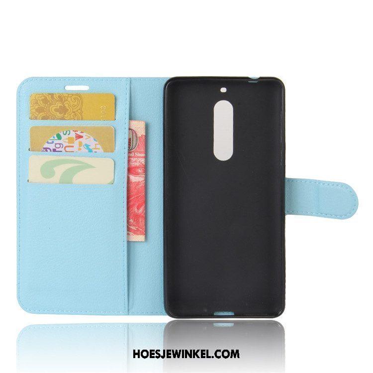 Nokia 5 Hoesje Folio Rood Mobiele Telefoon, Nokia 5 Hoesje Leren Etui Hoes