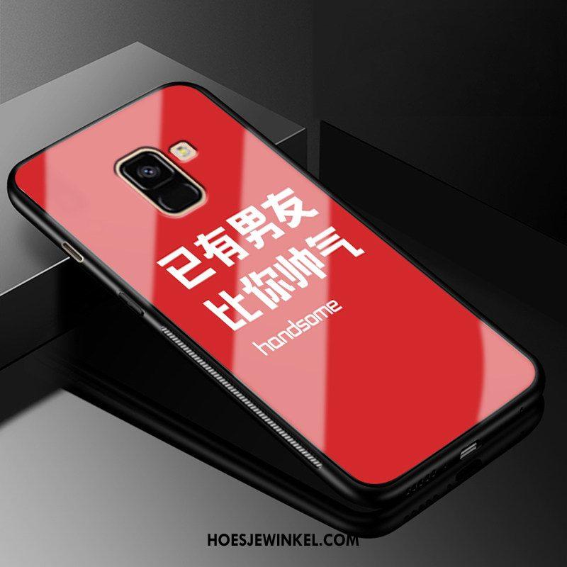 Samsung Galaxy A8 2018 Hoesje Mobiele Telefoon Ster Gehard Glas, Samsung Galaxy A8 2018 Hoesje Trend Bescherming