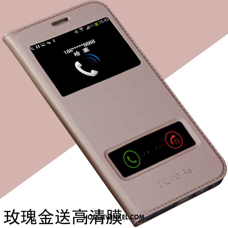 Samsung Galaxy A8 Hoesje Nieuw Ster Leren Etui, Samsung Galaxy A8 Hoesje Clamshell Blauw