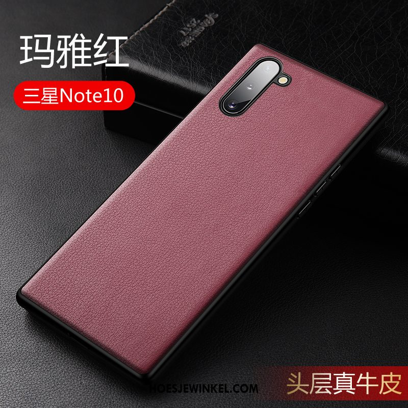 Samsung Galaxy Note 10 Hoesje Hoes Anti-fall Nieuw, Samsung Galaxy Note 10 Hoesje Rood Echt Leer