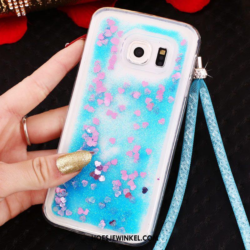 Samsung Galaxy S6 Edge Hoesje Drijfzand Met Strass Hoes, Samsung Galaxy S6 Edge Hoesje Hanger Purper
