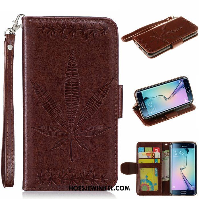 Samsung Galaxy S6 Edge Hoesje Goud Leren Etui Bescherming, Samsung Galaxy S6 Edge Hoesje Ster Folio