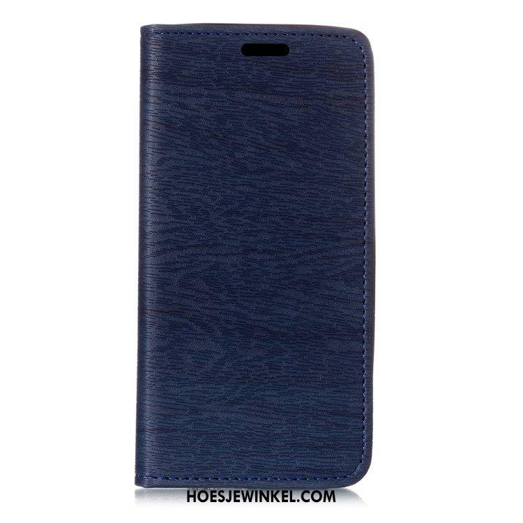 Sony Xperia Xz2 Hoesje Leren Etui Bescherming Automatisch, Sony Xperia Xz2 Hoesje Donkerblauw Boom