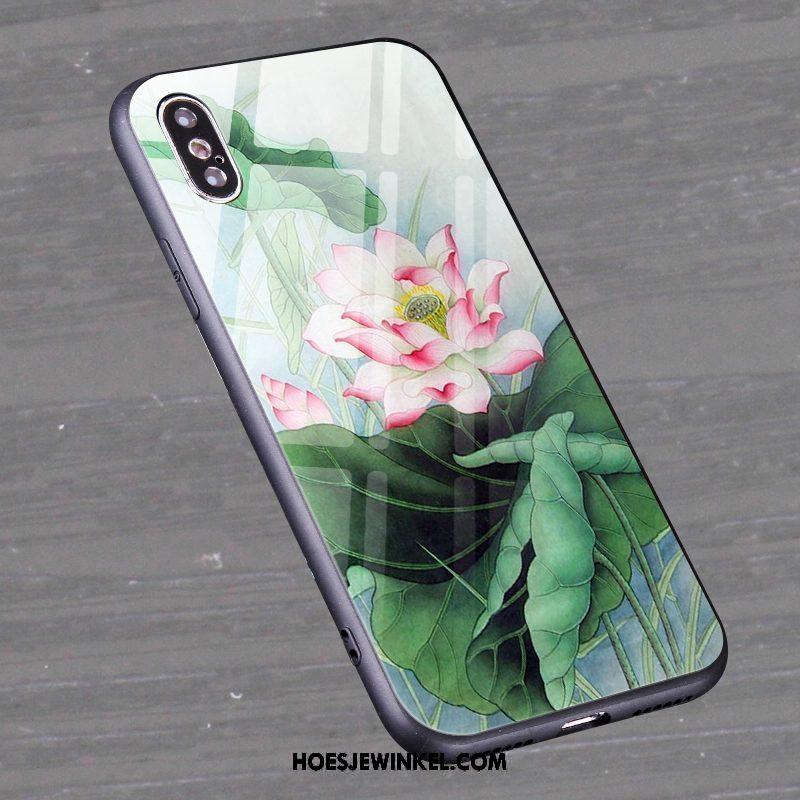 Xiaomi Mi 8 Pro Hoesje Anti-fall Groen Hoes, Xiaomi Mi 8 Pro Hoesje Bloemen Mini Beige