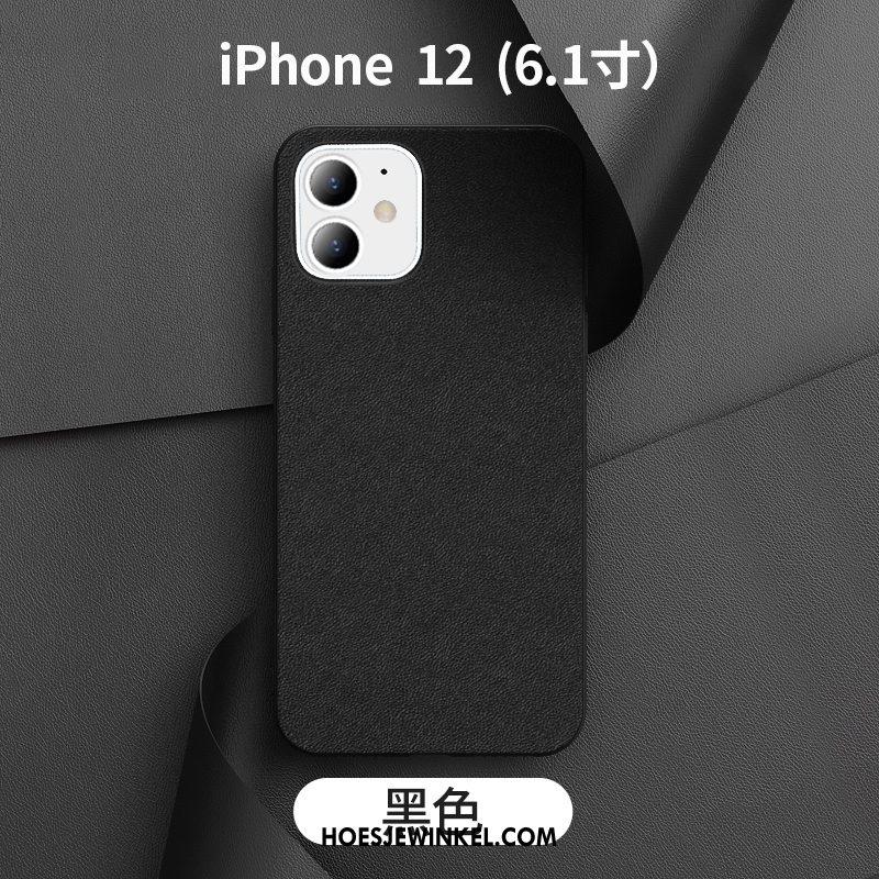 iPhone 12 Hoesje Donkergroen Bedrijf Anti-fall, iPhone 12 Hoesje Leren Etui Mobiele Telefoon
