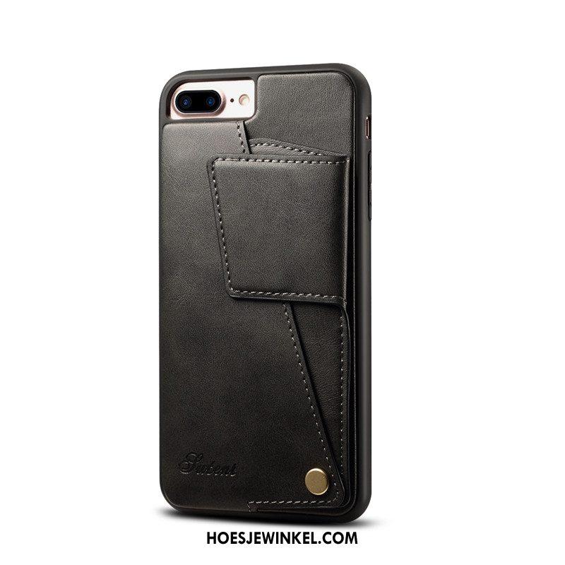 iPhone 8 Plus Hoesje Anti-fall Leren Etui Koe, iPhone 8 Plus Hoesje Kaart Mobiele Telefoon