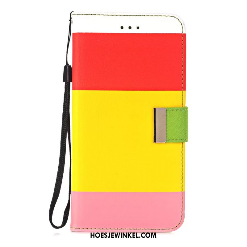 iPhone 8 Plus Hoesje Folio Streep Regenboog, iPhone 8 Plus Hoesje Anti-fall Leren Etui