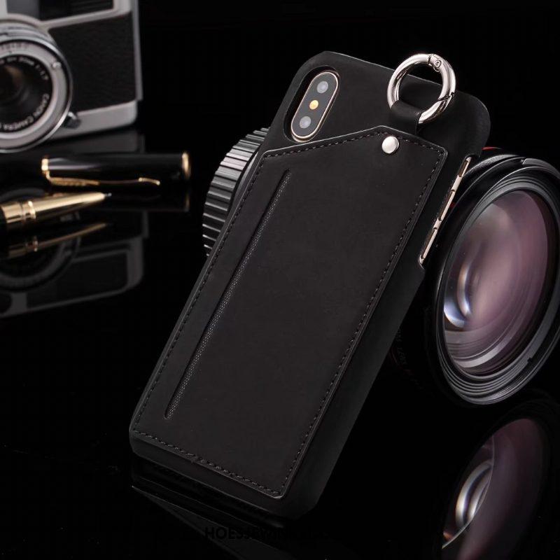 iPhone X Hoesje Kaart Bescherming Leren Etui, iPhone X Hoesje Khaki Anti-fall