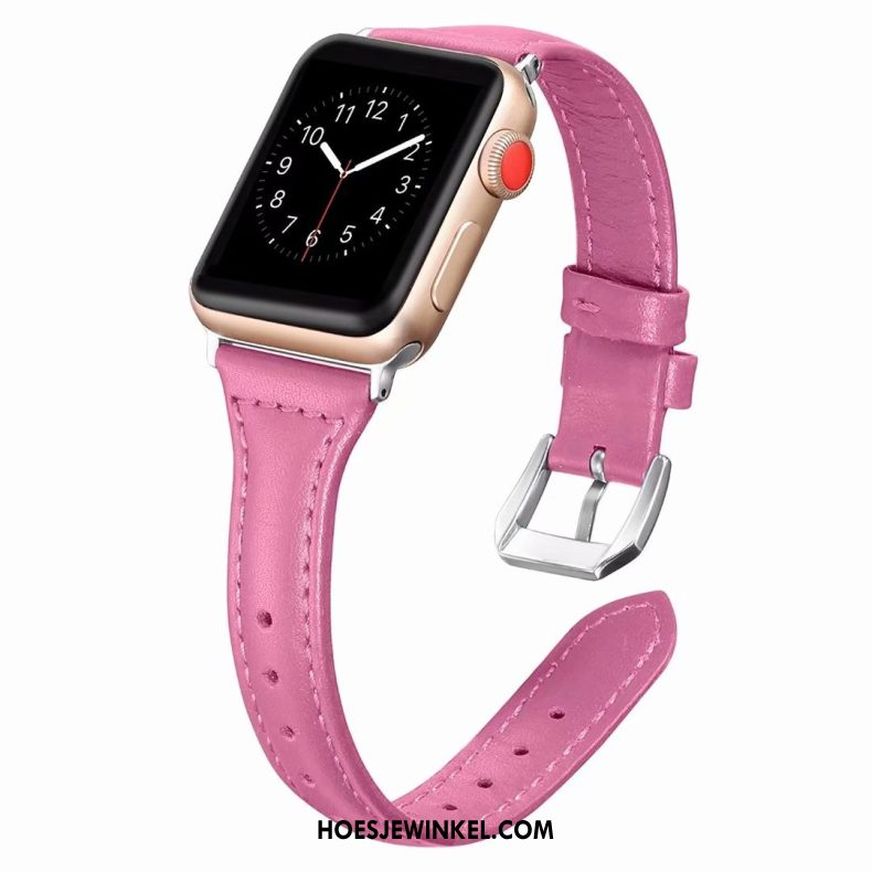 Apple Watch Series 2 Hoesje Fijne Roze Echt Leer, Apple Watch Series 2 Hoesje