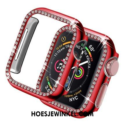 Apple Watch Series 3 Hoesje Hoes Plating Anti-fall, Apple Watch Series 3 Hoesje Rood Omlijsting