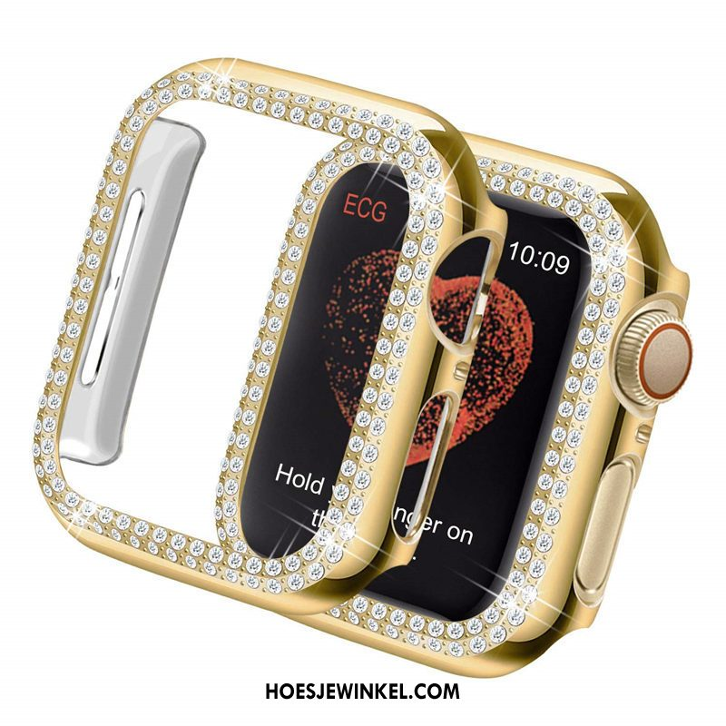 Apple Watch Series 3 Hoesje Met Strass Omlijsting Plating, Apple Watch Series 3 Hoesje Hard Goud