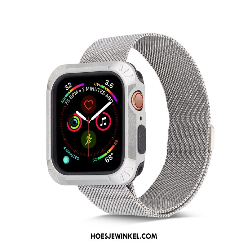 Apple Watch Series 5 Hoesje Plating Siliconen Wit, Apple Watch Series 5 Hoesje Hoes Bescherming