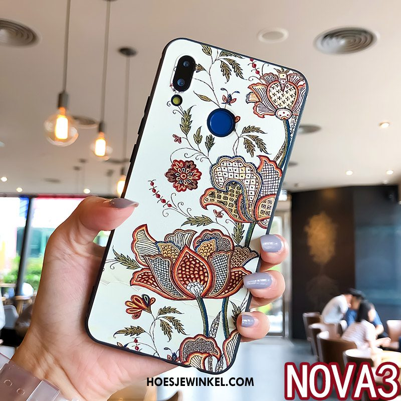 Huawei Nova 3 Hoesje Anti-fall All Inclusive Ring, Huawei Nova 3 Hoesje Bloemen Scheppend