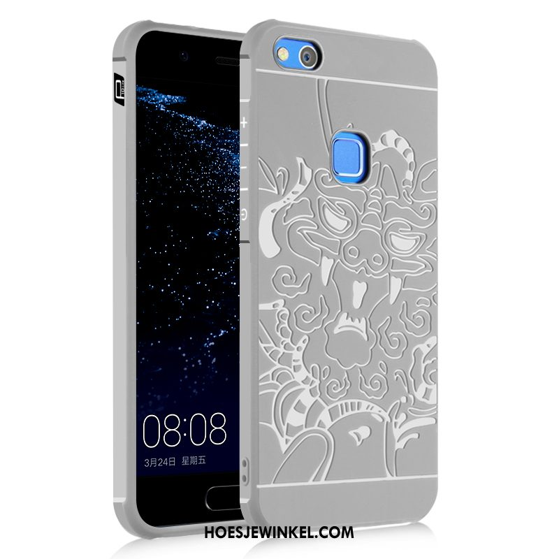 Huawei P10 Lite Hoesje Licht Grijs Draak, Huawei P10 Lite Hoesje Ondersteuning Hoes