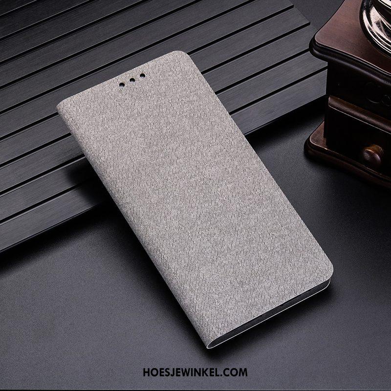 Huawei P30 Hoesje Kaart Anti-fall Bescherming, Huawei P30 Hoesje Leren Etui Grijs
