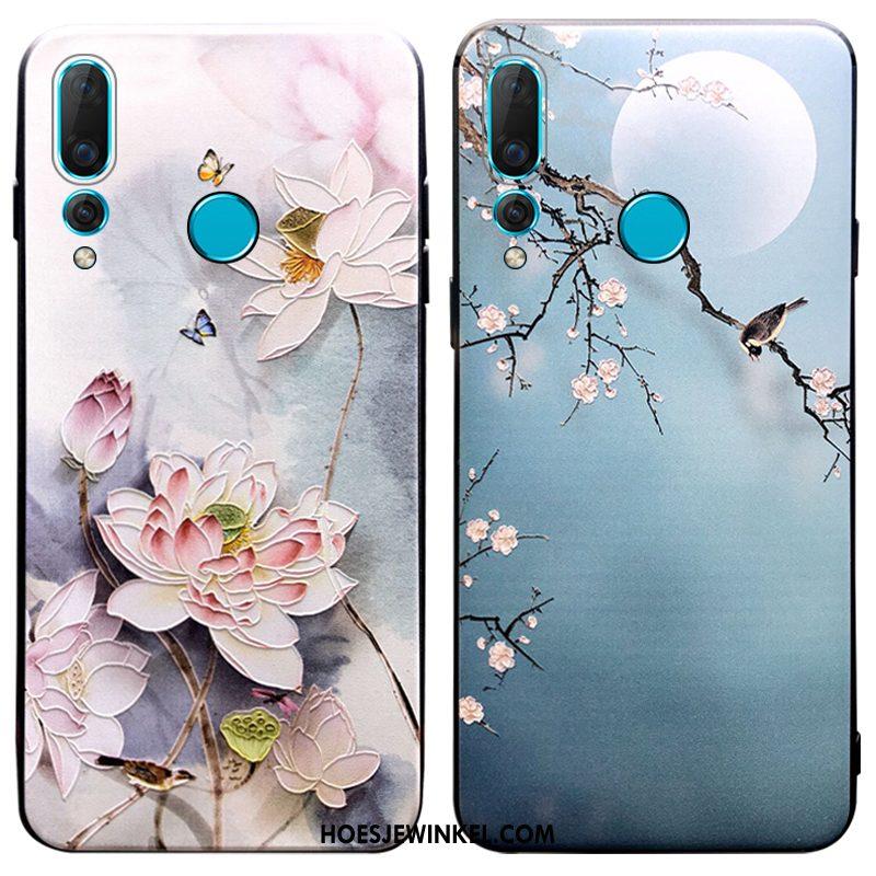 Huawei P30 Lite Hoesje Scheppend Chinese Stijl Blauw, Huawei P30 Lite Hoesje Nieuw Mobiele Telefoon
