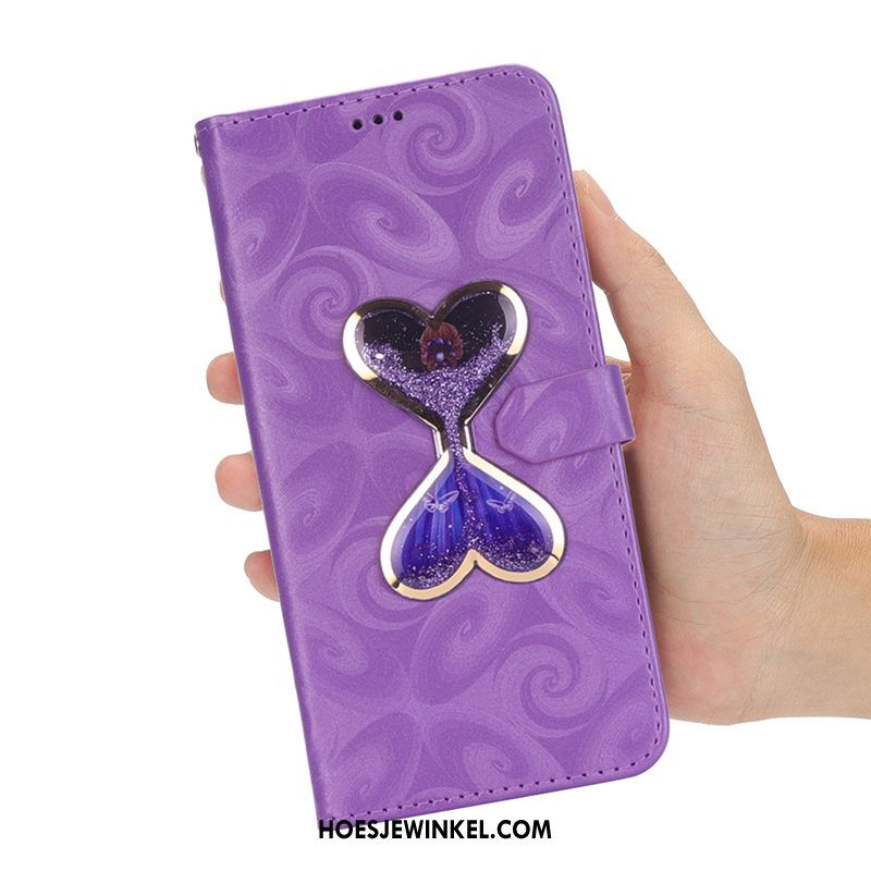 Huawei Y6 2018 Hoesje All Inclusive Folio Anti-fall, Huawei Y6 2018 Hoesje Reliëf Purper