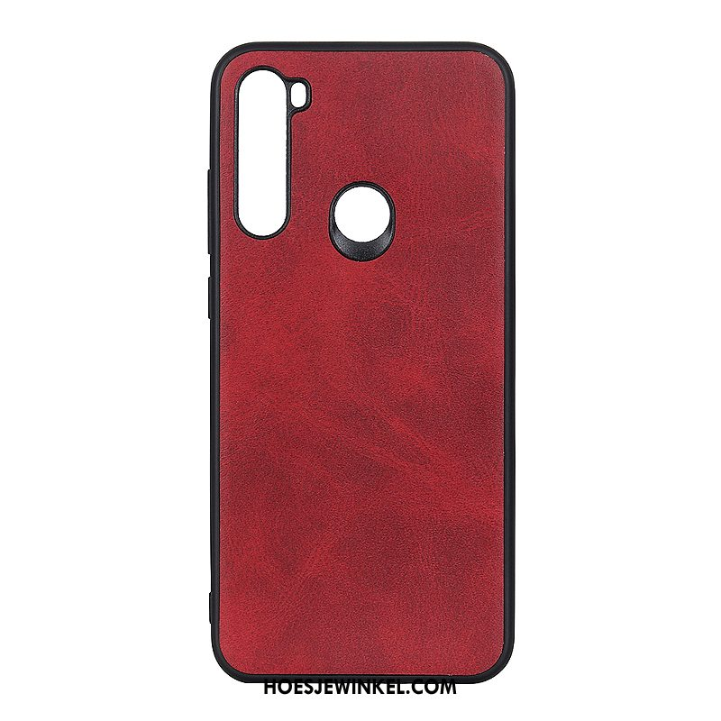 Iaomi Redmi Note 8t Hoesje Wijnrood Hard Leer, Iaomi Redmi Note 8t Hoesje All Inclusive Mini Beige