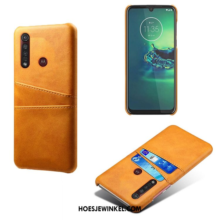 Moto G8 Plus Hoesje Tas Mini Koe, Moto G8 Plus Hoesje Geel Anti-fall
