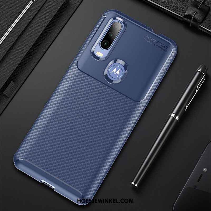 Motorola One Action Hoesje Donkerblauw Hoes Zacht, Motorola One Action Hoesje Anti-fall All Inclusive