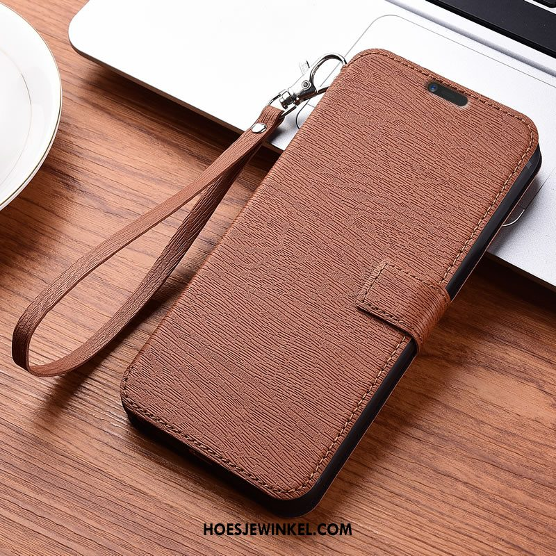 Nokia 7 Plus Hoesje Leren Etui All Inclusive Anti-fall, Nokia 7 Plus Hoesje Magneet Sluit Houtnerf Braun