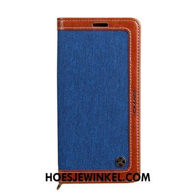 Samsung Galaxy A10 Hoesje Folio Leren Etui Blauw, Samsung Galaxy A10 Hoesje Nieuw All Inclusive