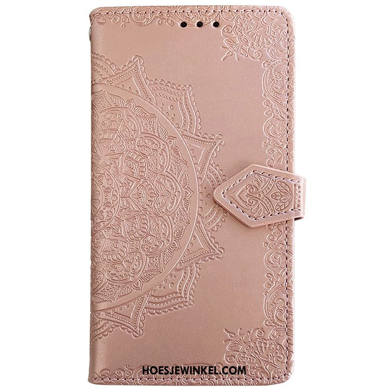 Samsung Galaxy A21s Hoesje Clamshell Hoes Mobiele Telefoon, Samsung Galaxy A21s Hoesje Leren Etui Roze