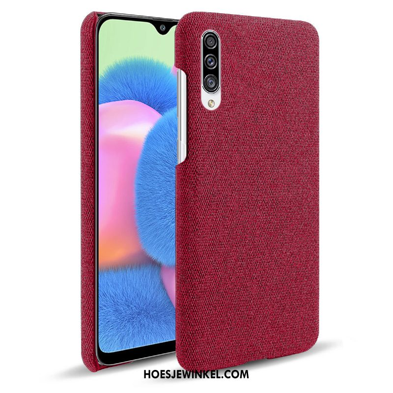 Samsung Galaxy A30s Hoesje Doek Hoes Rood, Samsung Galaxy A30s Hoesje Ster Mobiele Telefoon