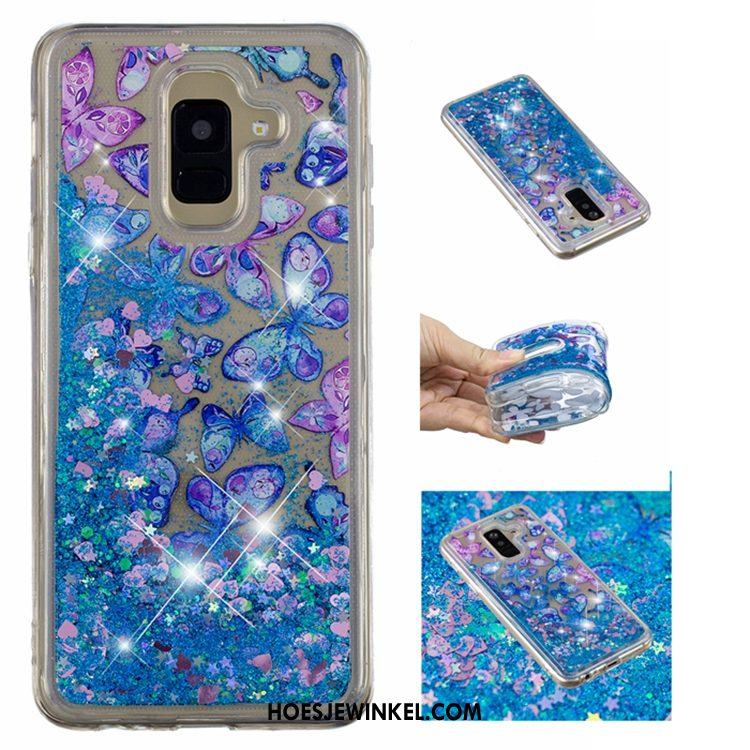 Samsung Galaxy A6 Hoesje Zacht All Inclusive Anti-fall, Samsung Galaxy A6 Hoesje Drijfzand Blauw