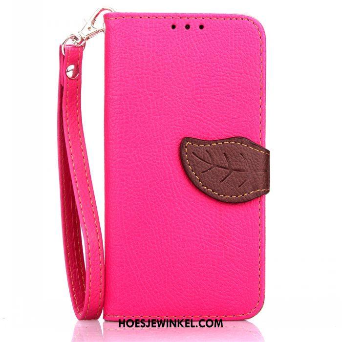 Samsung Galaxy A8 Hoesje Bescherming Mobiele Telefoon Rood, Samsung Galaxy A8 Hoesje Klittenband Leren Etui