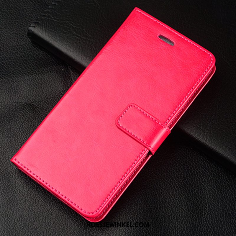 Samsung Galaxy A8 Hoesje Clamshell Hoes Bescherming, Samsung Galaxy A8 Hoesje Rood Leren Etui