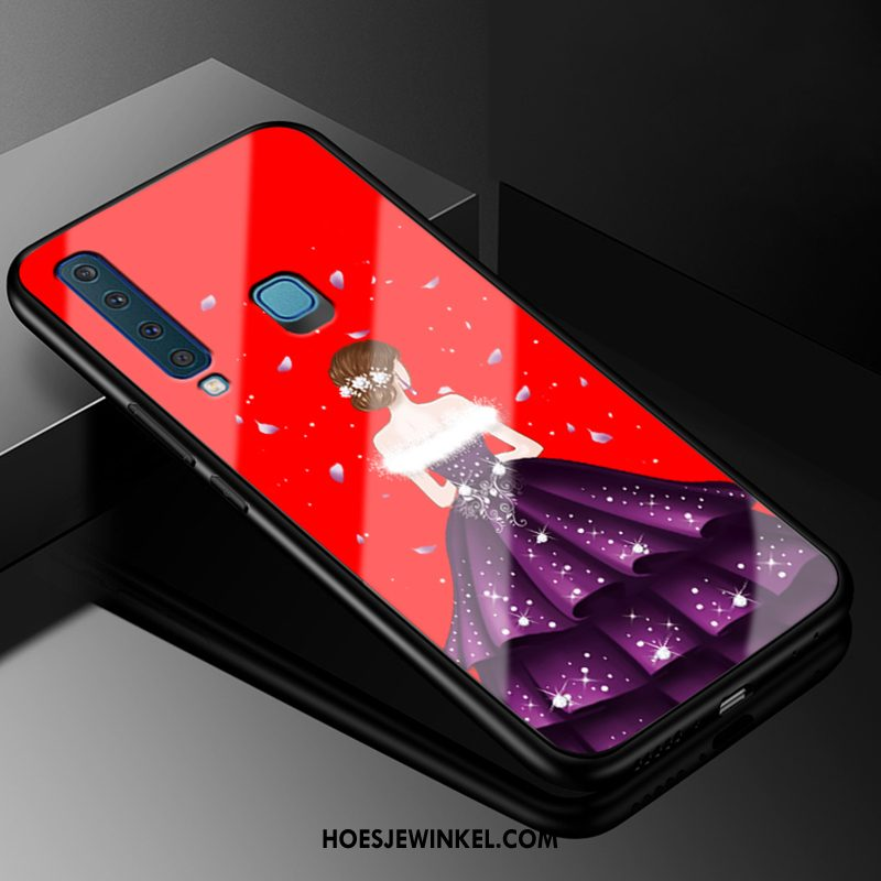 Samsung Galaxy A9 2018 Hoesje All Inclusive Hoes Eenvoudige, Samsung Galaxy A9 2018 Hoesje Persoonlijk Rood