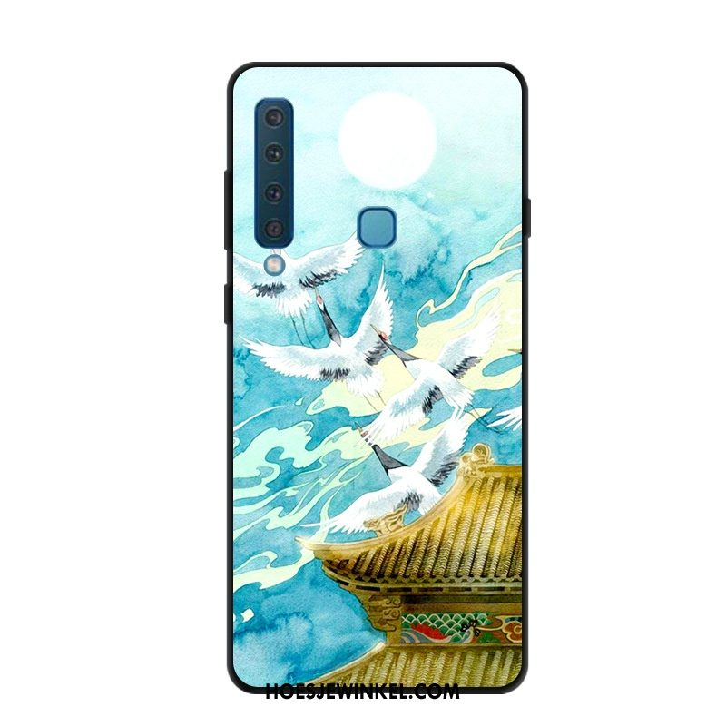 Samsung Galaxy A9 2018 Hoesje Hoes Blauw Scheppend, Samsung Galaxy A9 2018 Hoesje Ster Trend