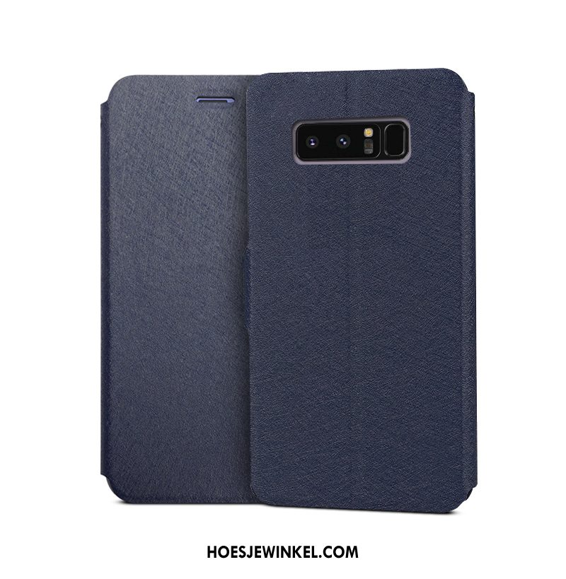Samsung Galaxy Note 8 Hoesje Clamshell Donkerblauw Mobiele Telefoon, Samsung Galaxy Note 8 Hoesje Leren Etui Ster