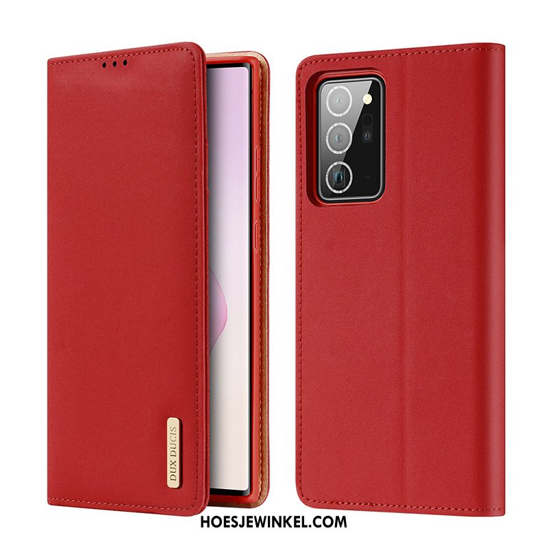 Samsung Galaxy Note20 Hoesje Rood Ster Mobiele Telefoon, Samsung Galaxy Note20 Hoesje Leren Etui