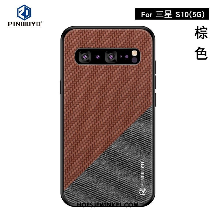 Samsung Galaxy S10 5g Hoesje Hoes Ster Mobiele Telefoon, Samsung Galaxy S10 5g Hoesje Doek Anti-fall Braun