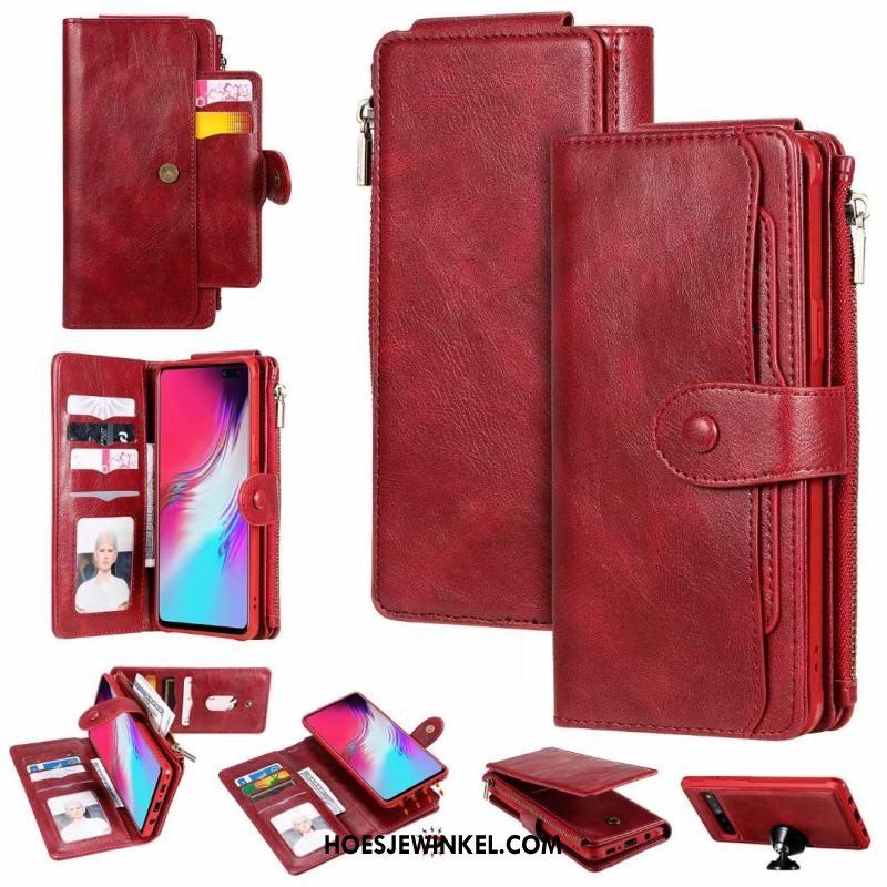 Samsung Galaxy S10 5g Hoesje Vintage Rood Ster, Samsung Galaxy S10 5g Hoesje Leren Etui Mobiele Telefoon