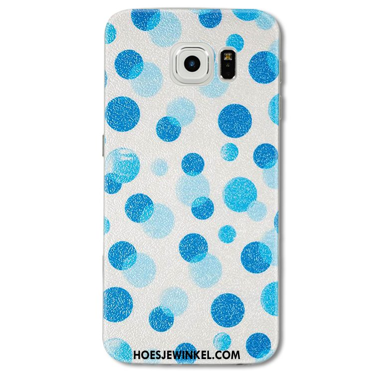 Samsung Galaxy S6 Edge Hoesje Golfpunt Blauw Scheppend, Samsung Galaxy S6 Edge Hoesje Mobiele Telefoon Ster