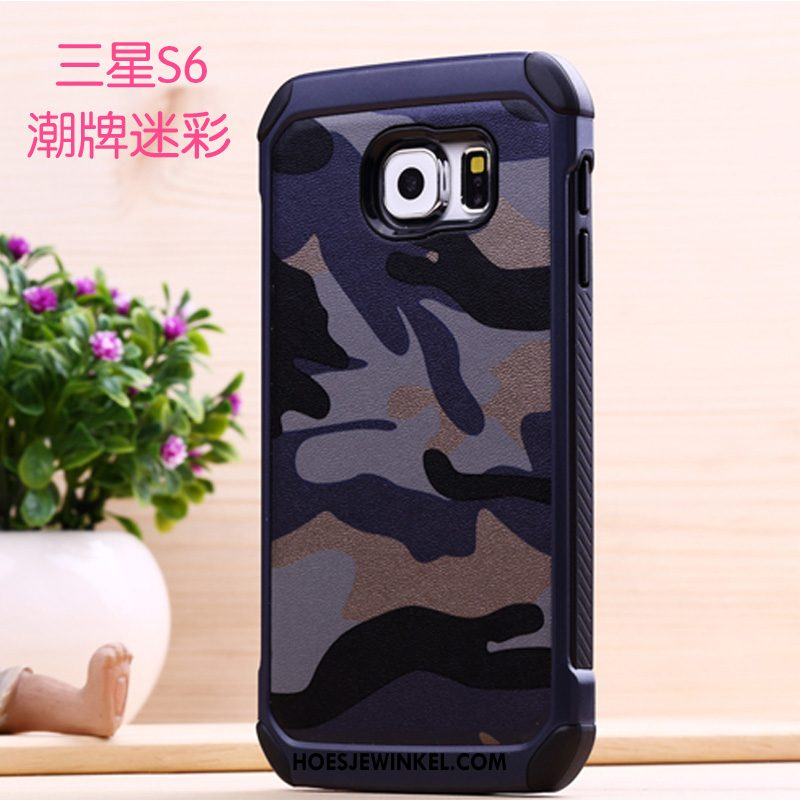 Samsung Galaxy S6 Hoesje Siliconen Hard Ster, Samsung Galaxy S6 Hoesje Camouflage Bescherming