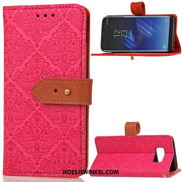Samsung Galaxy S8 Hoesje Echt Leer Klittenband Leren Etui, Samsung Galaxy S8 Hoesje Rood Ster