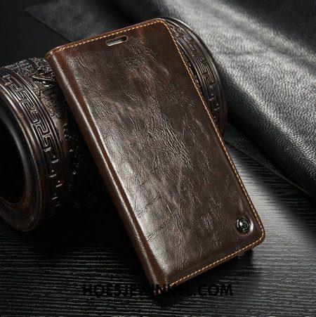 Samsung Galaxy S8 Hoesje Tas Kaart Leren Etui, Samsung Galaxy S8 Hoesje Mobiele Telefoon Folio Braun