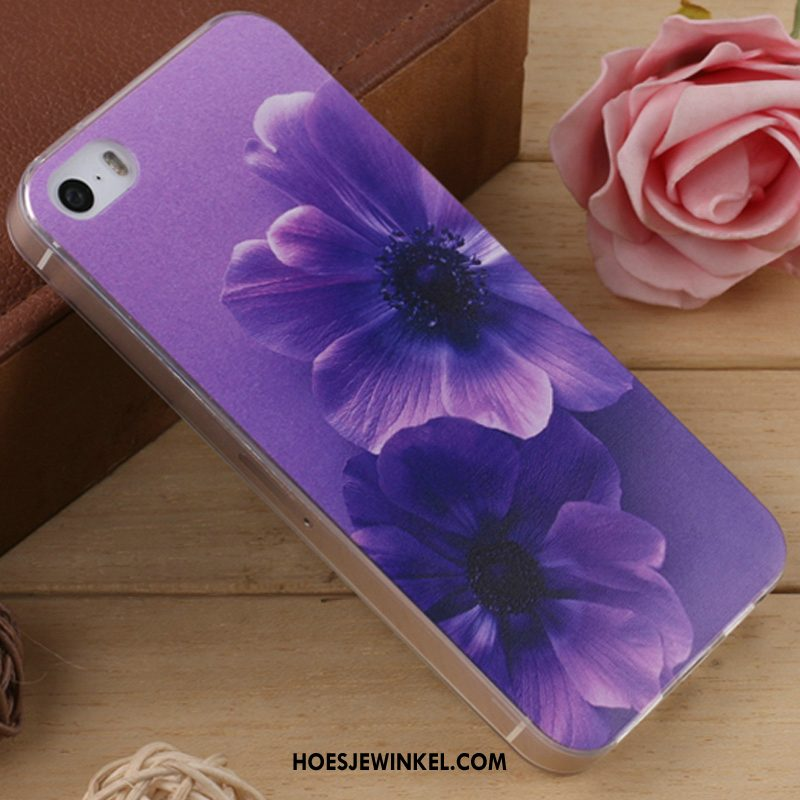 iPhone 5 / 5s Hoesje Spotprent Hoes Purper, iPhone 5 / 5s Hoesje Dun Zacht