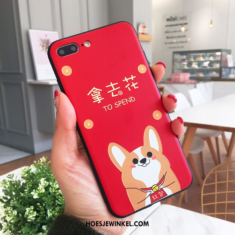 iPhone 8 Plus Hoesje Nieuw Anti-fall Siliconen, iPhone 8 Plus Hoesje Hoes Rood